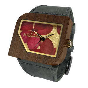 Avanti Flowers, Grey Pui Red, Watches Wooden