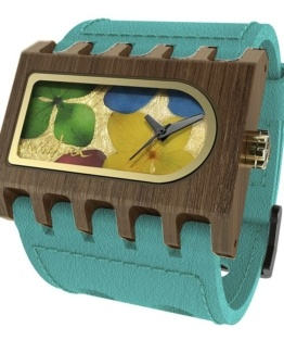 Ferro Flowers, Turquoise Pui Multicolour, Watches Wooden