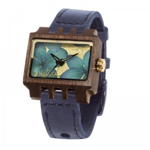 Lenzo Flowers, Black Pui Blue, Watches Wooden