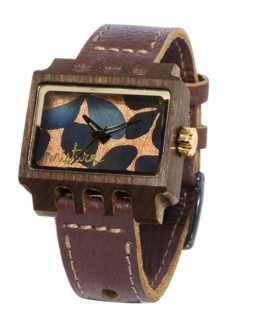 Lenzo Flowers, Brown Pui Black, Watches Wooden
