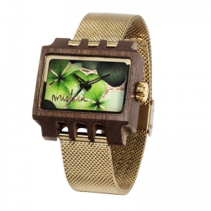 Lenzo Flowers, Gold Mesh Pui Green, Watches Wooden