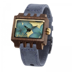 Lenzo Flowers, Grey Pui Blue, Watches Wooden