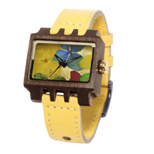 Lenzo Flowers, Yellow Pui Multicolour, Watches Wooden