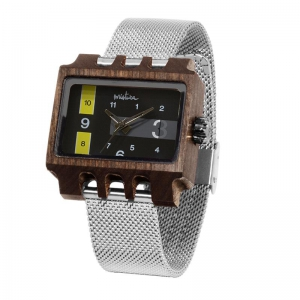 Lenzo, Silver Mesh Pui Black, Watches Wooden