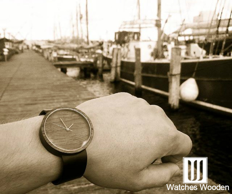 Ovi watch, worn by model at seaport