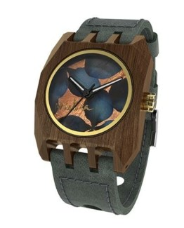 Volcano Flowers, Grey Pui Dark Blue, Watches Wooden