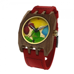 Volcano Flowers, Red Pui Multicolour, Watches Wooden