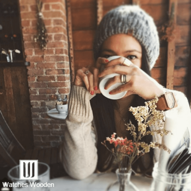 Model drinking coffee with a Wood Watch