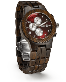 Jord Wood Watch Conway Series Dark Sandalwood & Burgundy