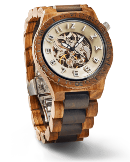 Jord Wood Watch Dover Series Zebrawood & DarkSandalwood