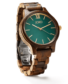 Jord Wood Watch Frankie Series Dark Sandalwood & Emerald
