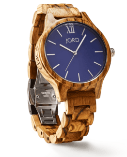 Jord Wood Watch Frankie Series Zebrawood & Navy