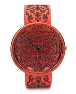 Red Amare Ovi Wood Watch